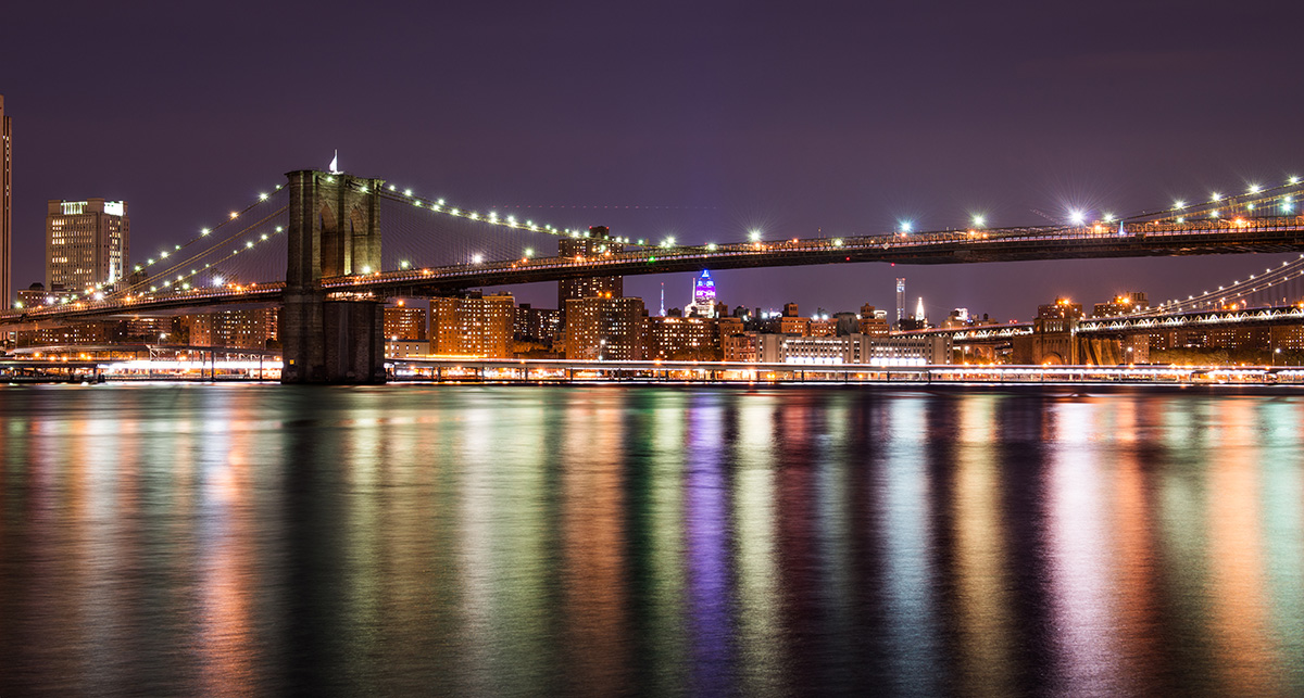 Brooklyn bridge at the night, New York City